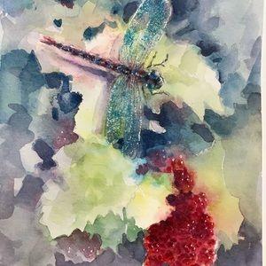 Original painting Dragonfly damselfly Artwork